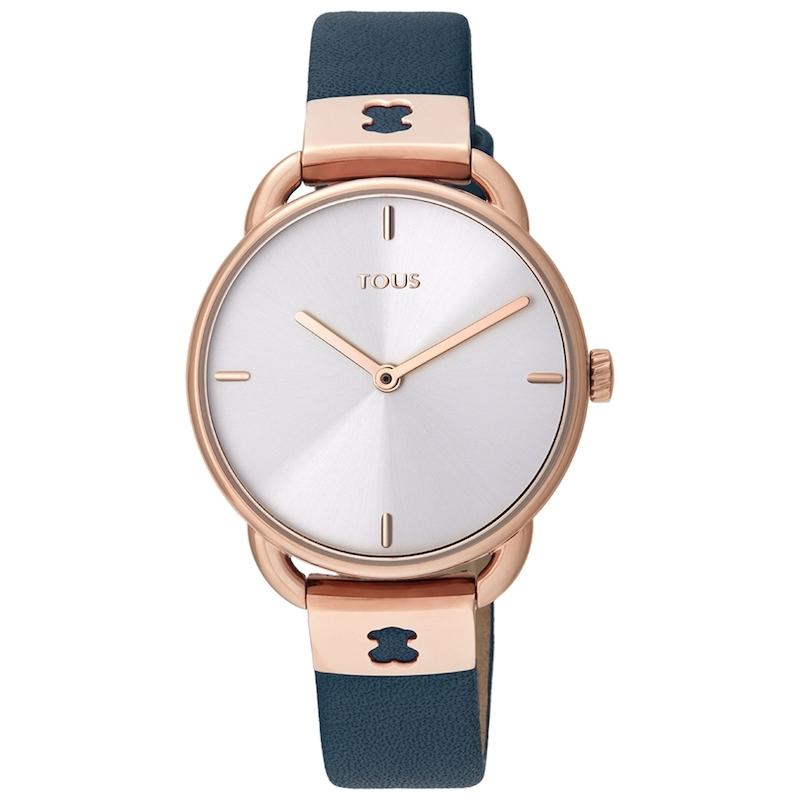 Reloj Tous Let Leather de mujer, dorado en oro rosé y correa azul, 000351540.