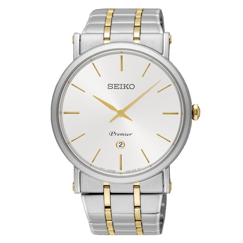 Reloj Seiko Premier de hombre acero dorado bicolor SKP400P1.