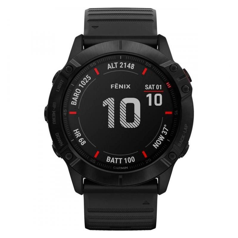 Reloj Garmin fēnix 6 Edición negro con correa silicona negra, 010-02157-01.