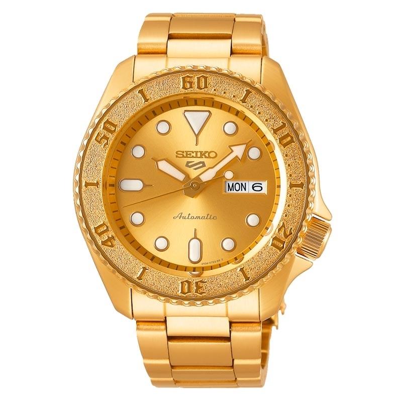 Reloj Seiko 5 Sports Street Style de hombre, dorado y automático, SRPE74K1.