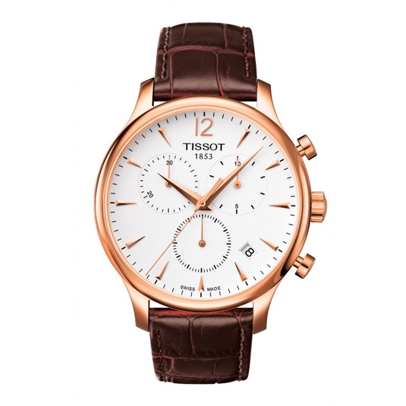 """Reloj Tissot hombre """"Tradiction"""" chapado, cronómetro y piel T0636173603700"""