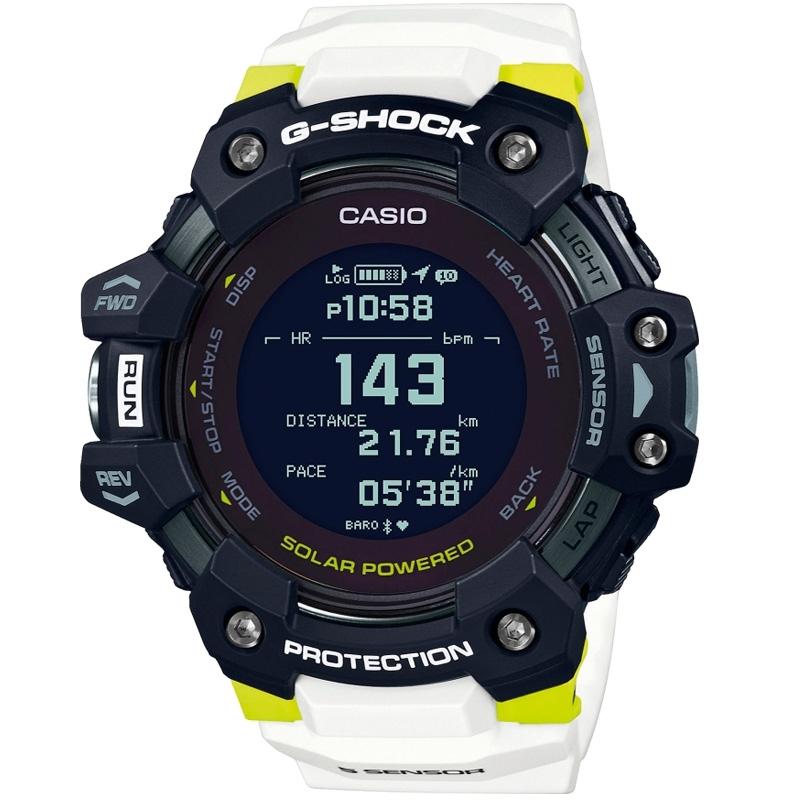 Reloj Casio G-Shock G-Squad Solar Bluetooth® en blanco, negro y amarillo, GBD-H1000-1A7ER.