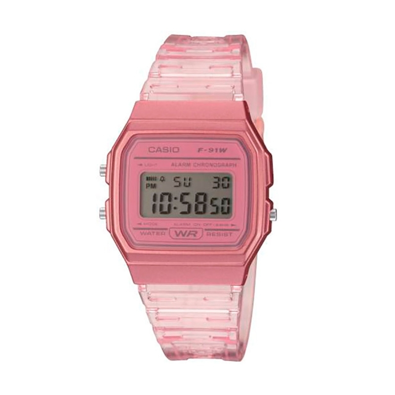 Reloj Casio digital F-91WS Clear Colors en resina rosada, F-91WS-4EF.