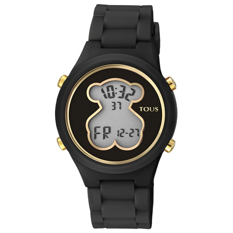 Reloj Tous D-Bear Teen digital para mujer en negro y dorado, 000351590.