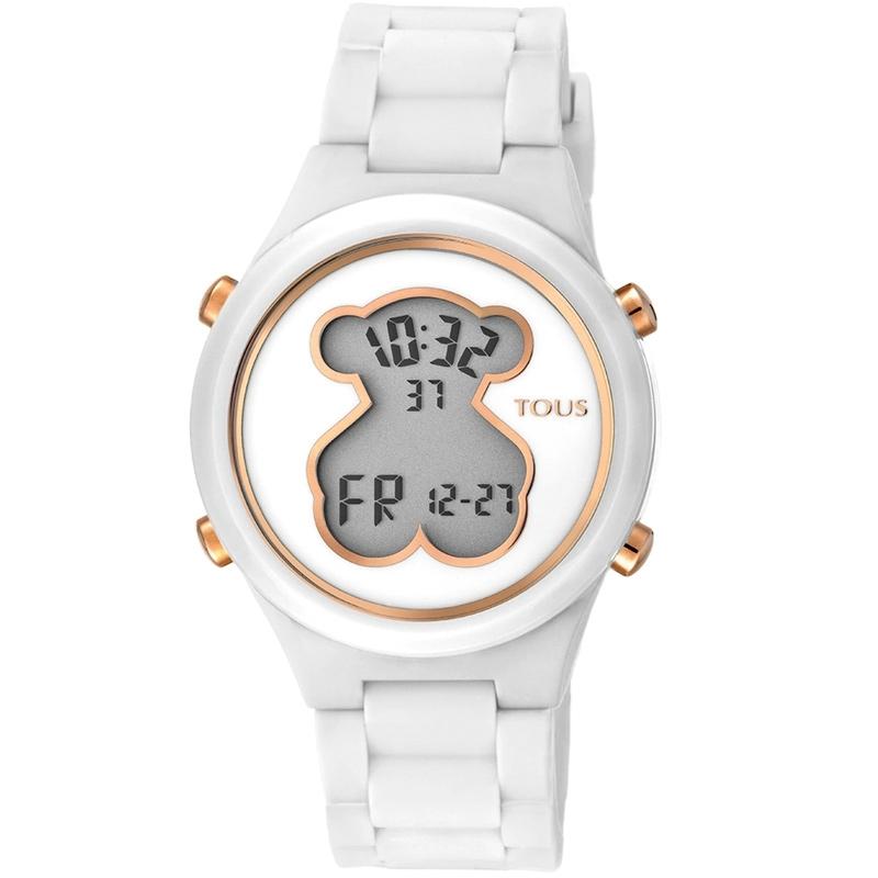 Reloj Tous D-Bear Teen digital de mujer en blanco y rosado, 000351595.