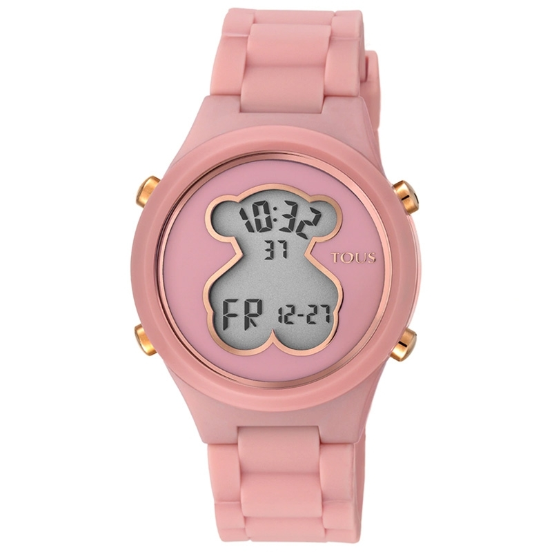 Reloj Tous D-Bear Teen digital de mujer, en rosa y detalles oro rosé, 000351605.