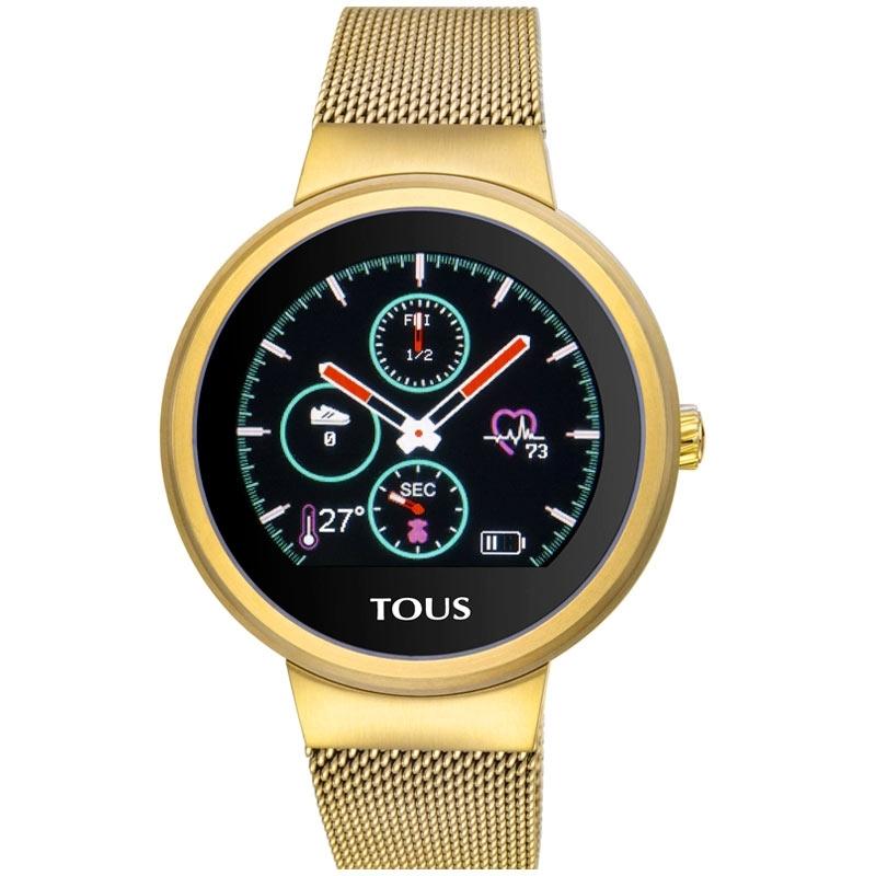 Reloj activity Tous Rond Touch de mujer dorado con correa de malla, 000351645.