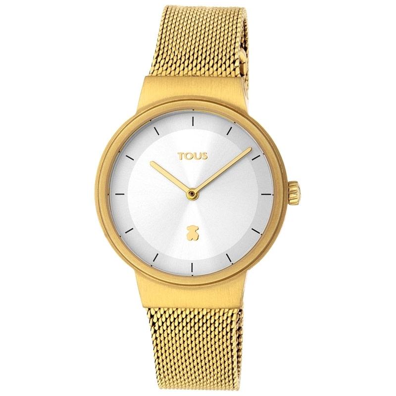 Reloj Tous Rond Mesh de mujer, dorado con esfera plateada y malla, 000351535.