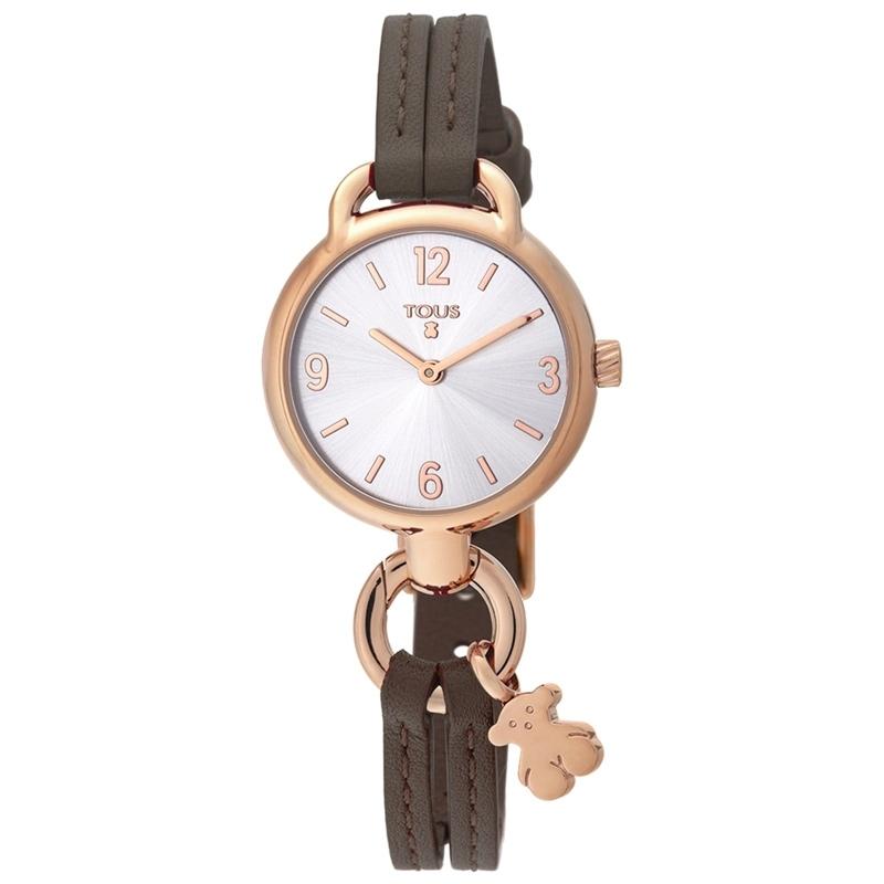 Reloj Tous de mujer Hold rosado con correa de piel marrón, 000351455.
