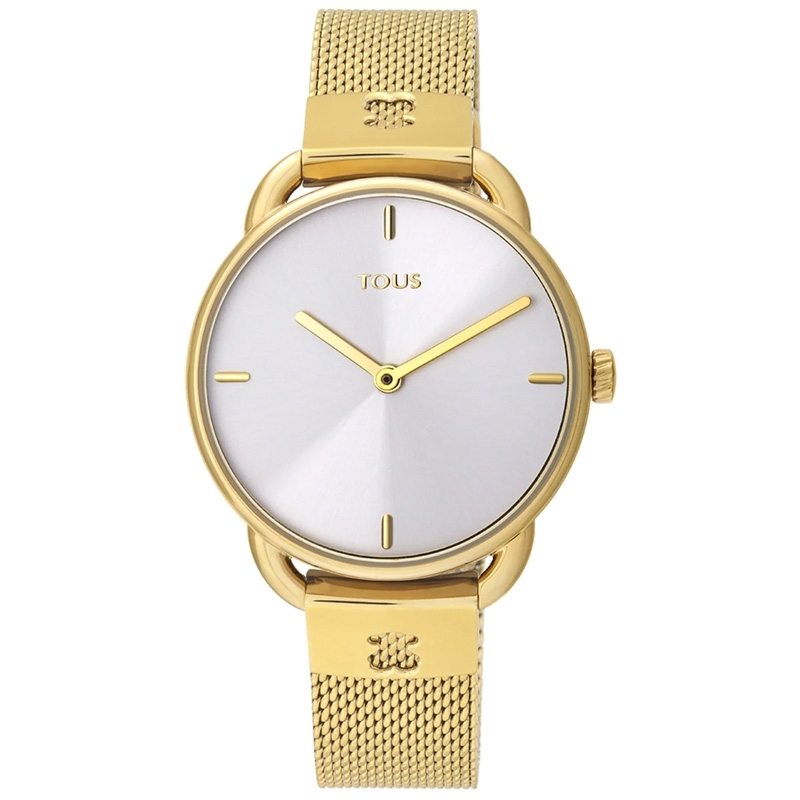 Reloj Tous Let Mesh de mujer, dorado con esfera plateada, 000351495.