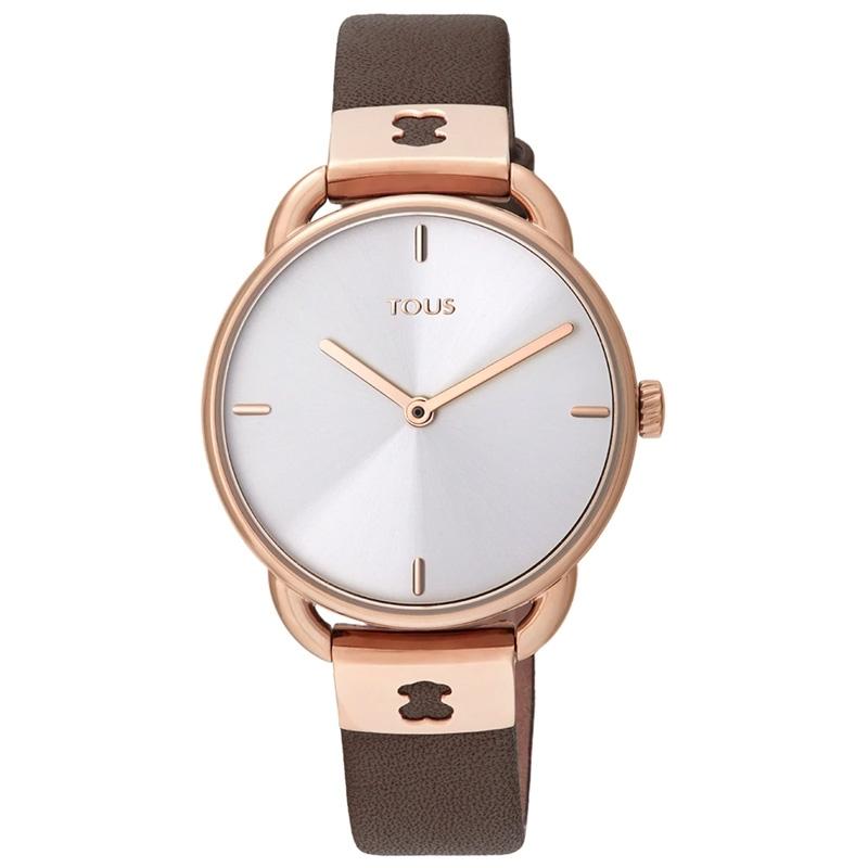 Reloj Tous Let Leather de mujer en rosado con correa de piel marrón, 000351475.