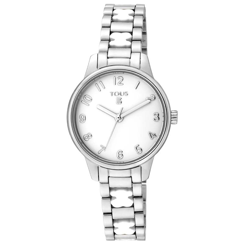 Reloj Tous Beary de mujer en acero con osos en silicona blanca, 000351560.
