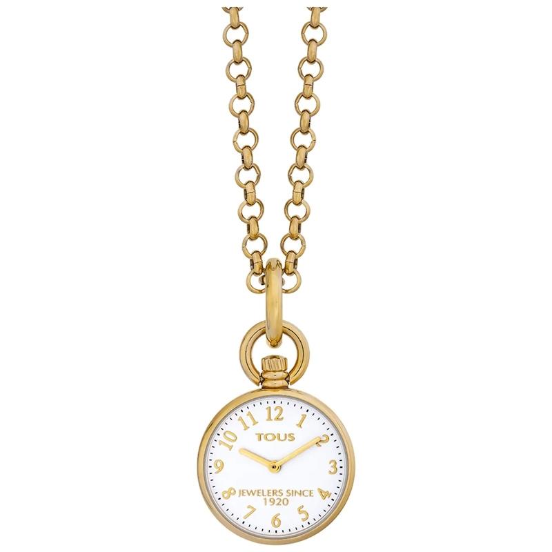 Reloj de bolsillo Tous Job dorado en oro amarillo, esfera blanca, 000351585.