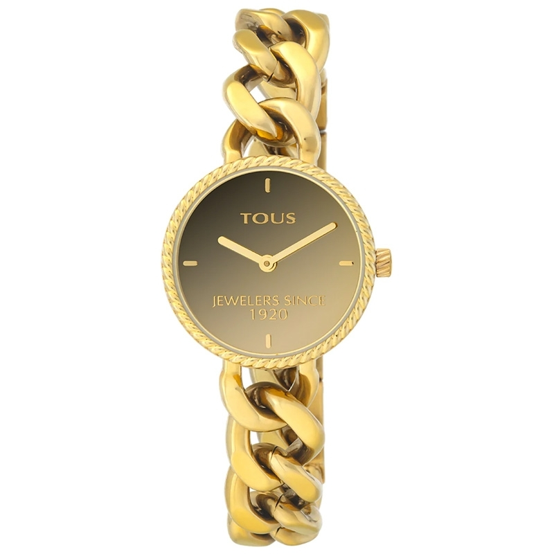 Reloj Tous Minne de mujer dorado con esfera en marrón degradado, 000351620.
