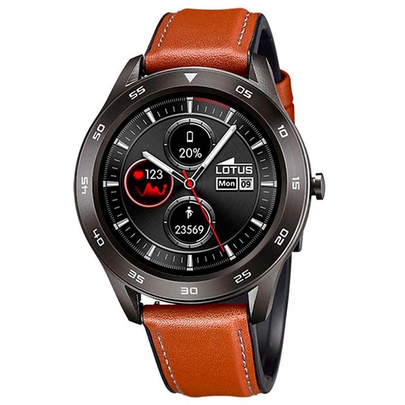 Reloj inteligente Lotus Smartime para hombre con correa de piel marrón, 50012/1.