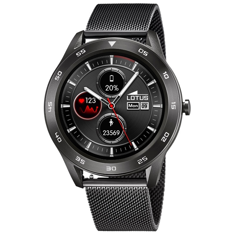 Reloj inteligente Lotus Smartime de hombre en negro con malla, 50011/1.