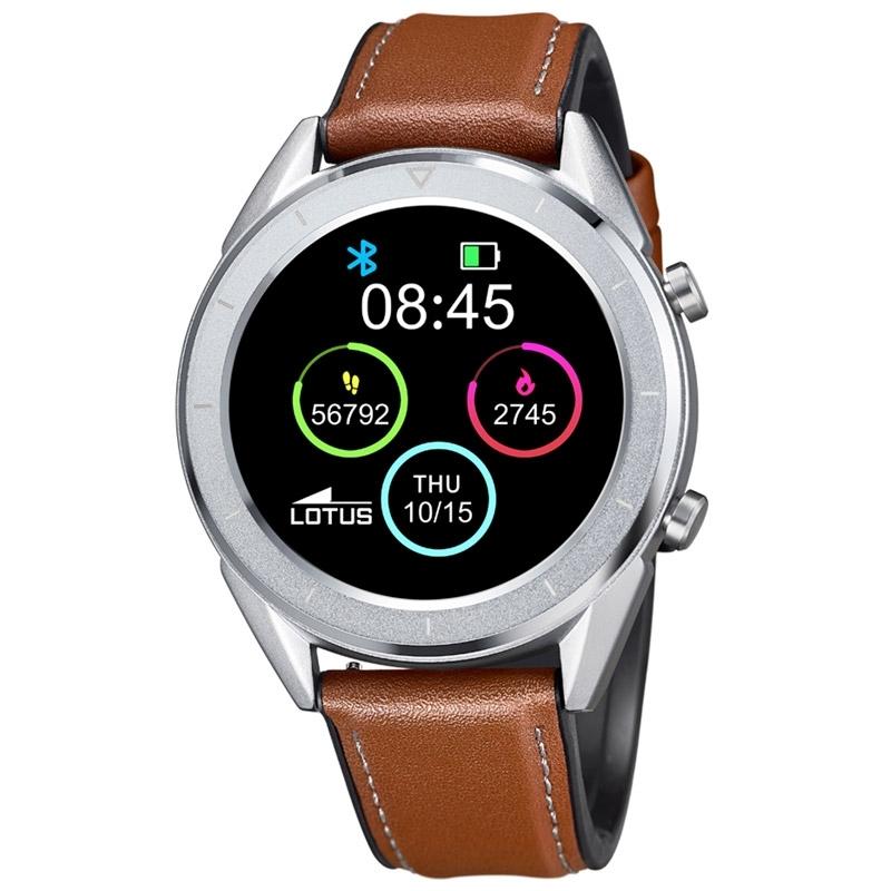 Reloj inteligente Lotus Smartime de hombre plateado y correa piel, 50008/1.