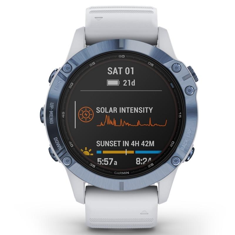 Reloj Garmin fēnix 6 Pro Solar Edition blanco con bisel de acero azul, 010-02410-19.