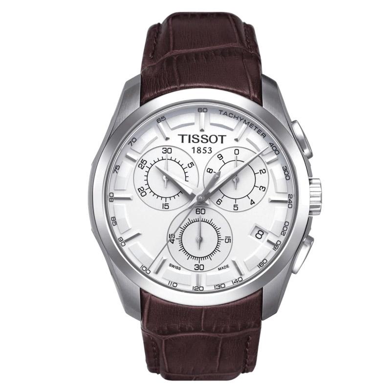 Reloj Tissot Couturier Chronograph para hombre con correa piel marrón, T0356171603100.