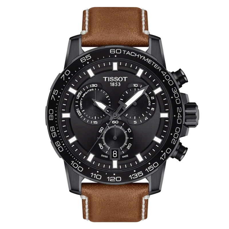 Reloj Tissot SuperSport Chronograph en negro con correa piel marrón, T1256173605101.