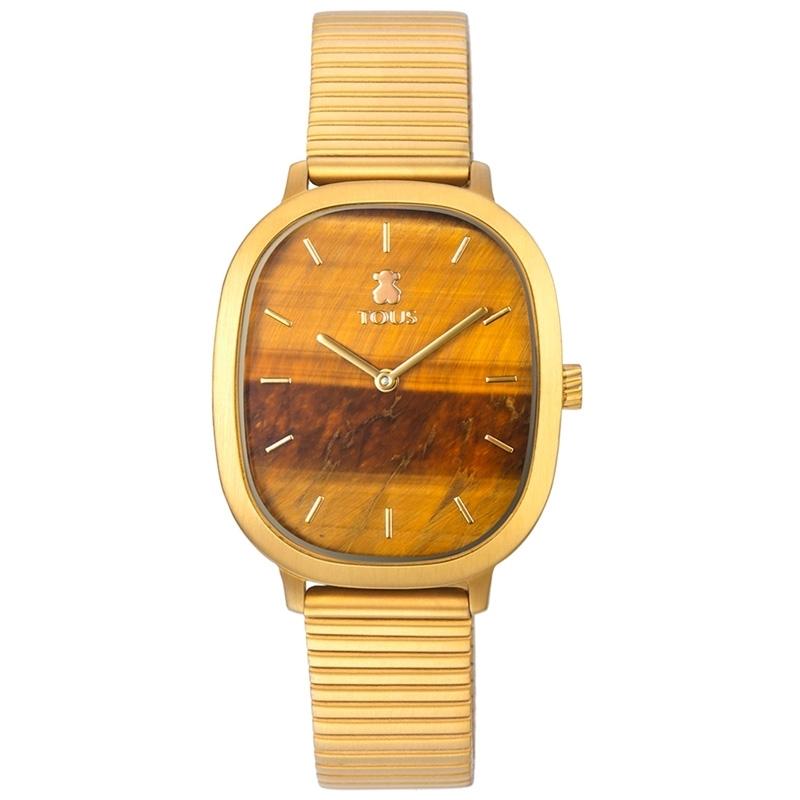 Reloj Tous Heritage Gems de mujer dorado y esfera de ojo de tigre, 000351660.