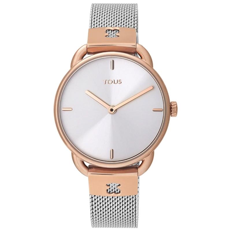 Reloj Tous de mujer Let Mesh bicolor rosado con correa de malla, 000351490.