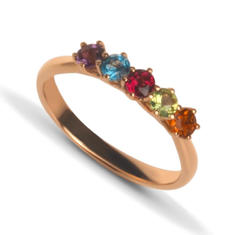 Anillo De Oro Rosé Con Piedras Semipreciosas En Colores De Superoro