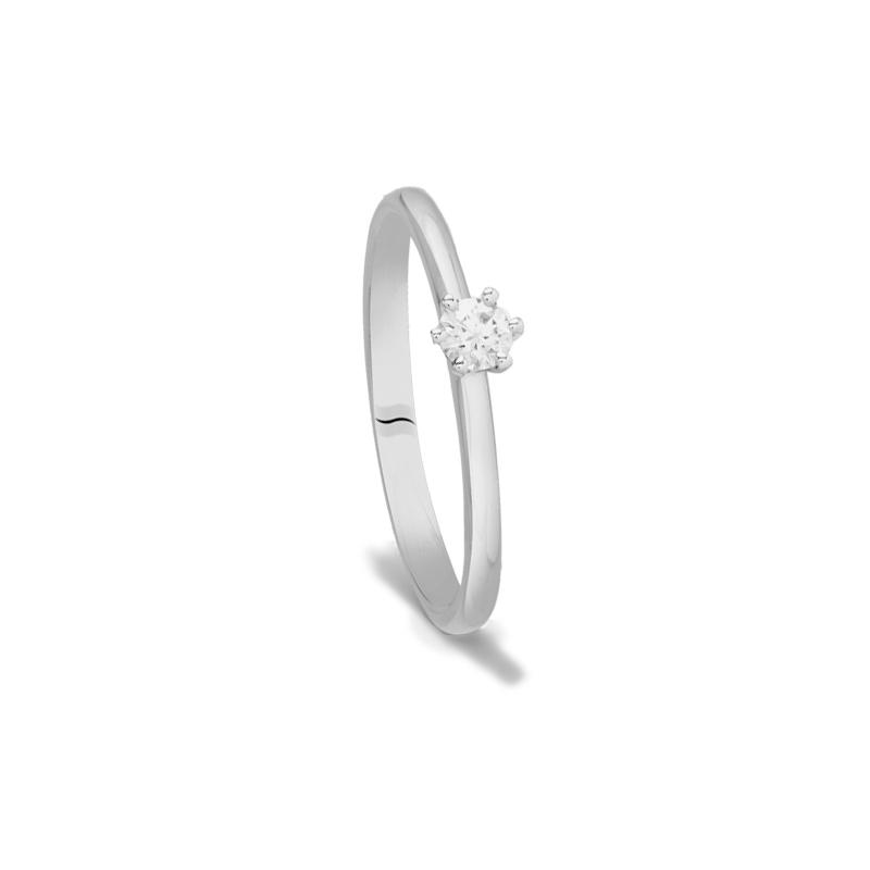 Anillo de compromiso en oro blanco y diamante 0,25 qt, Black & White Jewellery de Superoro.