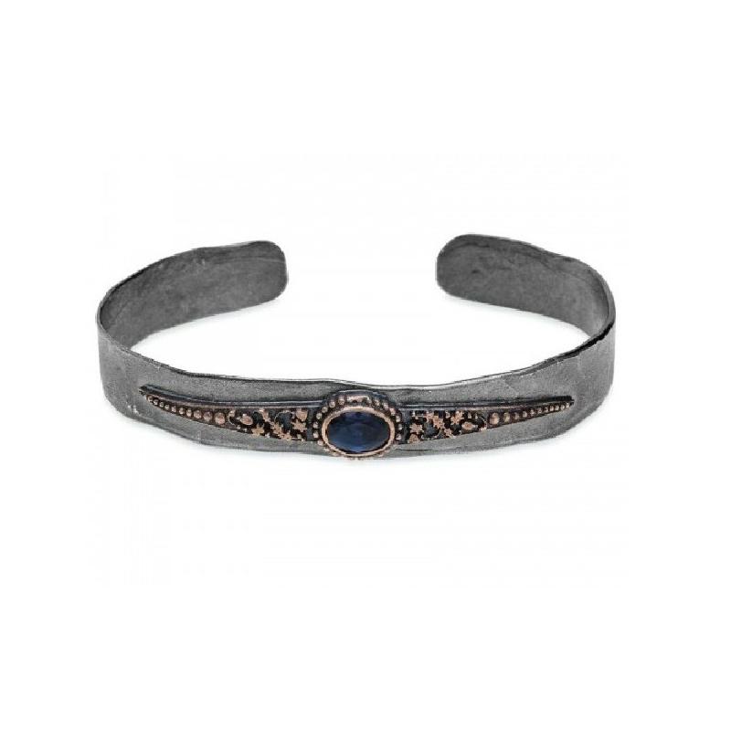Brazalete para mujer en plata envejecida, bronce y circonita azul, de Platadepalo, CB115A.