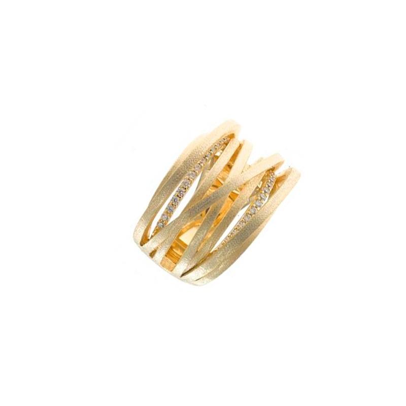 Anillo multihilo en plata dorada y matizada con circonitas, de Salvatore Plata, 256S0003.