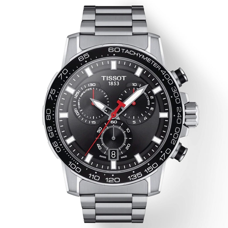 Reloj Tissot SuperSport Chronograph en acero con esfera negra, T1256171105100.