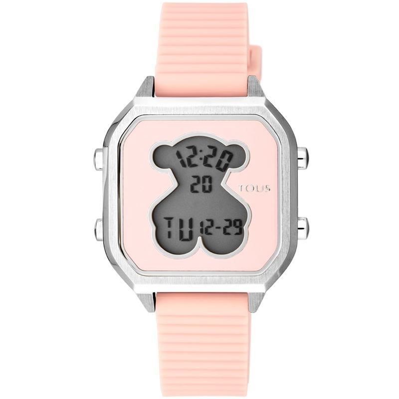 Reloj Tous D-Bear Teen Square digital en acero y correa silicona rosa, 100350385.