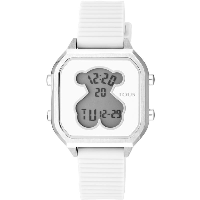 Reloj Tous D-Bear Teen Square digital plateado y correa de silicona blanco, 100350380.