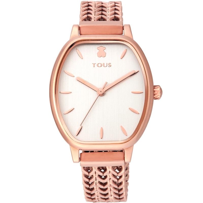 Reloj Tous Osier en acero rosado y esfera plateada, con malla de espiga, 100350415.