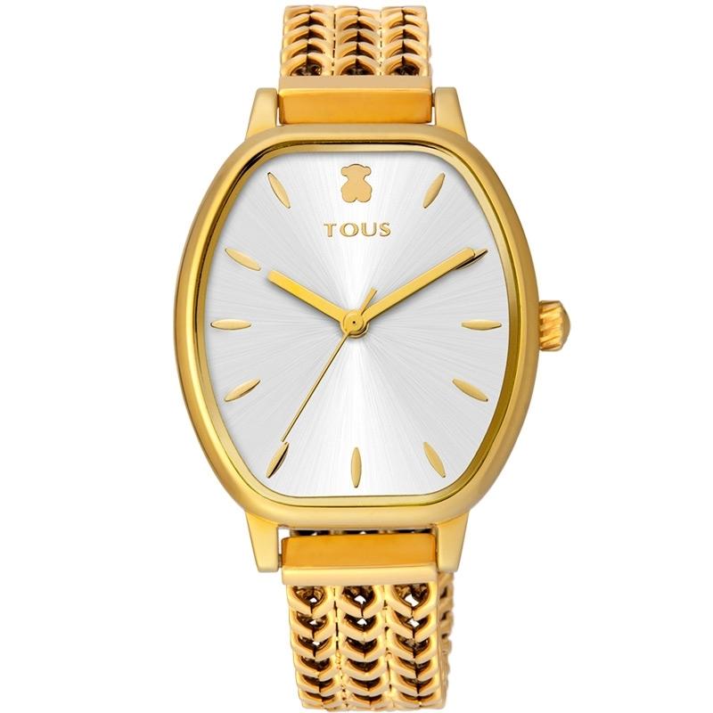 Reloj Tous Osier de mujer dorado con esfera plateada y malla de espiga, 100350410