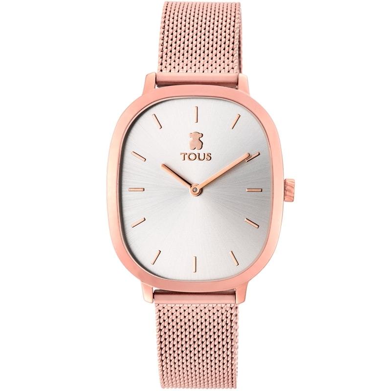 Reloj Tous Heritage de mujer en acero rosado, esfera plateada y malla, 900350395.