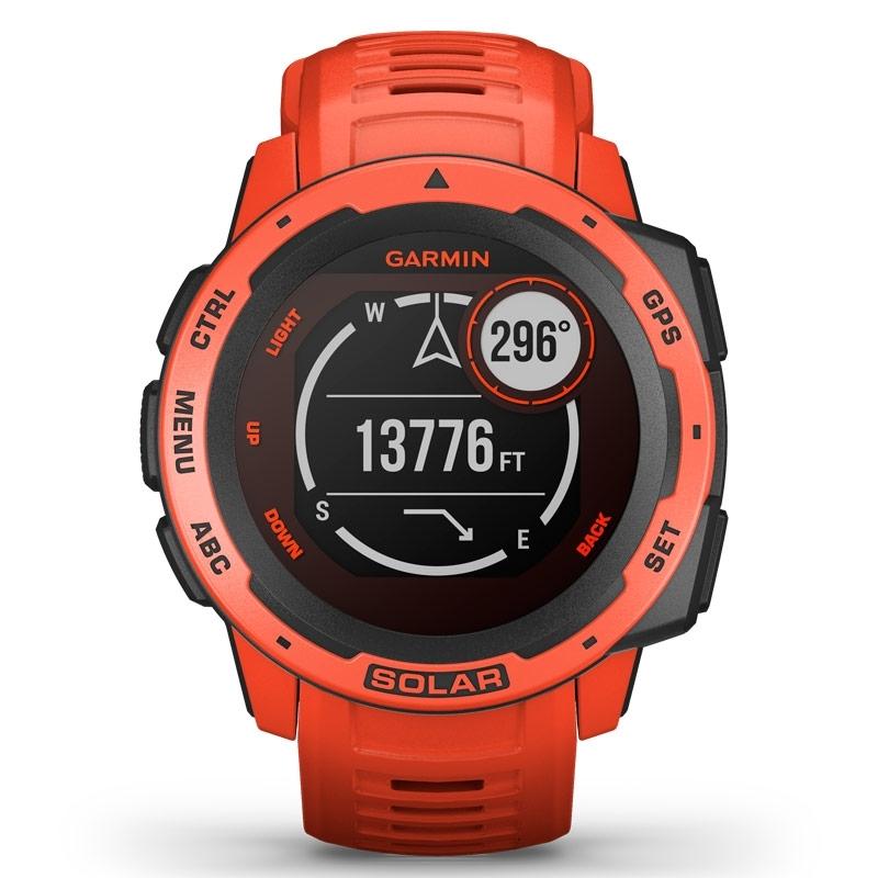 Reloj inteligente Garmin Instinct® Solar en rojo con GPS, 010-02293-20.