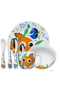 """Cubiertos de acero infantil con vajilla WMF 7 piezas """"Nemo"""" de Disney."""
