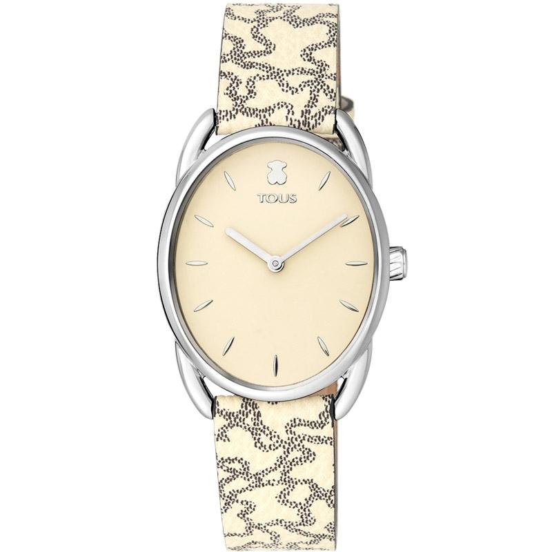 Reloj Tous Dai de mujer caja ovalada, esfera beige y correa piel de osos, 100350435.