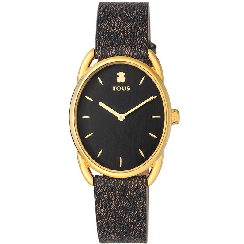 Reloj Tous Dai de mujer con caja dorada y ovalada, esfera negra, 100350440.