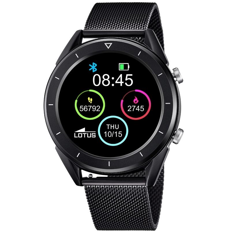 Reloj Lotus Inteligente Smartime para hombre en negro con malla y correa extra, 50007/1.