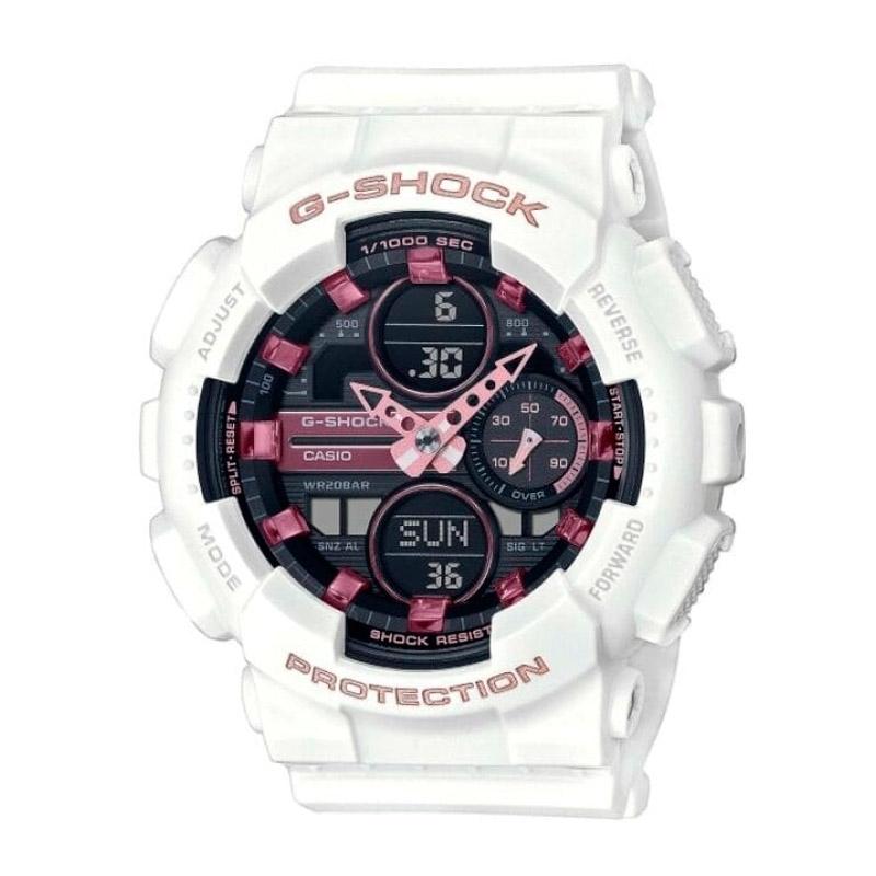 Reloj Casio G-Shock S Series de mujer en blanco, esfera negra y detalles en rosa, GMA-S140M-7AER.