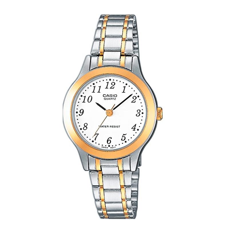 Reloj Casio de mujer de la gama básica plateado bicolor y numeración árabe, LTP-1263PG-7BEF.