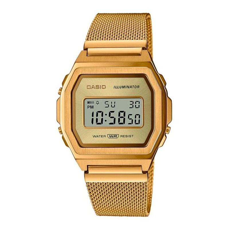 Reloj Casio Vintage Iconic para mujer en acero dorado amarillo y malla, A1000MG-9EF.