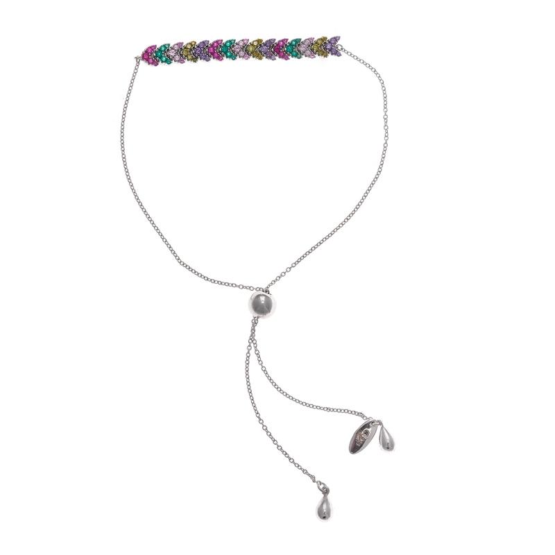 Pulsera de plata rodiada con frontal de espiga de circonitas multicolor, de Salvatore Plata 136P0159.