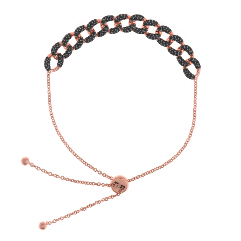 Pulsera de plata rosada con eslabones de circonitas negras, de Salvatore Plata 136P0195.