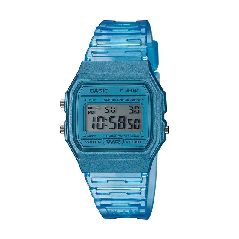 Reloj Casio digital F-91WS Clear Colors en resina azul celeste, F-91WS-2EF.
