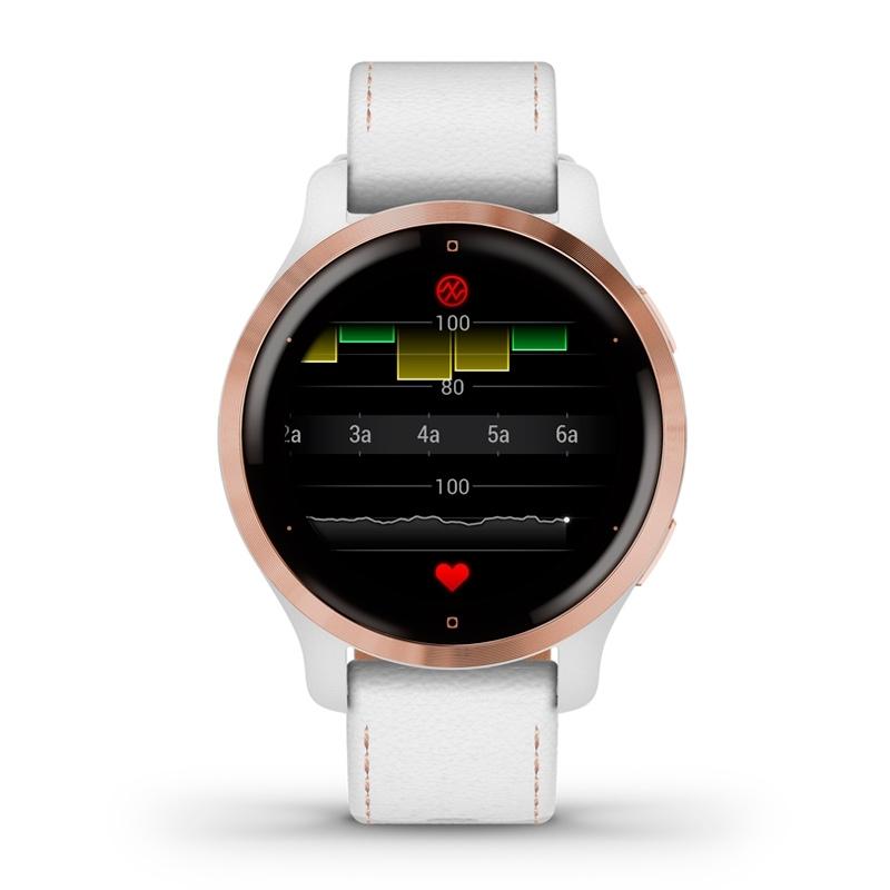 Reloj inteligente Garmin Venu® 2S de mujer con detalles rosados y correa de cuero blanca, 010-02429-23.