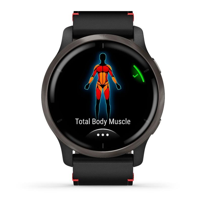 Reloj inteligente Garmin Venu® 2 de hombre negro con correa de cuero negra, 010-02430-21.