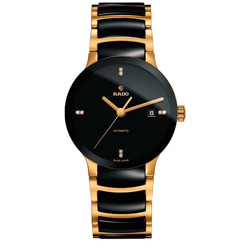 Reloj Rado Centrix automático con diamantes en esfera, cerámica negra y dorado, R30035712.